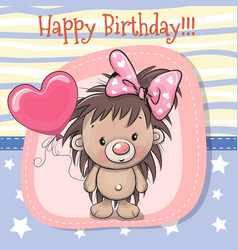 cute cartoon hedgehog girl with balloon vector image vector image