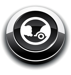 Ecology 3d round button vector