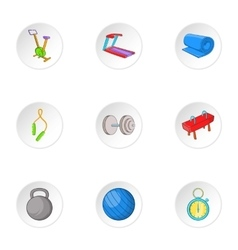 Exercise room icons set cartoon style vector
