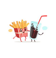 french fries and cola glass with blank speech vector image