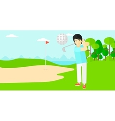 Golf player hitting the ball vector image