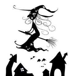 Halloween silhouettes of witch flying vector