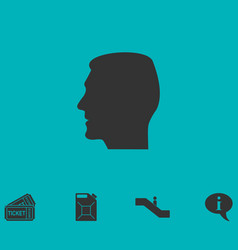Head icon flat vector