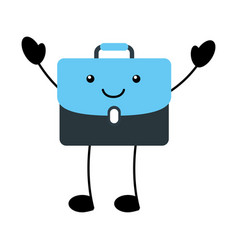 kawaii business briefcase document cartoon vector image