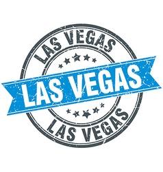 Las Vegas blue round grunge vintage ribbon stamp vector image