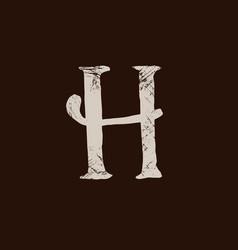 Letter h handwritten by dry brush rough strokes vector