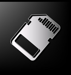 Memory card sign gray 3d printed icon on vector