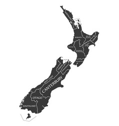 new zealand map labelled black vector image vector image
