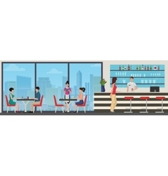 People eating in modern restaurant cafe interior vector