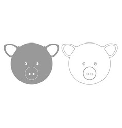 Pig head grey set icon vector