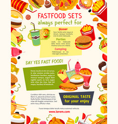 Poster menu for fast food restaurant vector