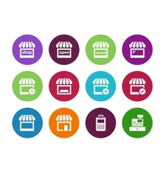 Shop circle icons on white background vector image vector image