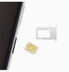 Small nano sim card sim card tray for smartphone vector