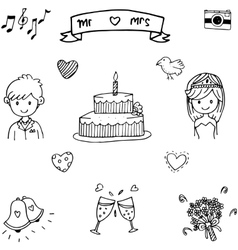 Sweet wedding doodle art vector image
