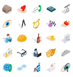 Theater icons set isometric style vector