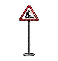 Traffic signal road under construction vector