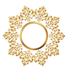 vintage frame circular baroque pattern round vector image vector image