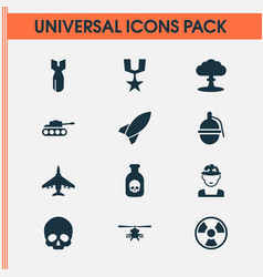 warfare icons set collection of military danger vector image