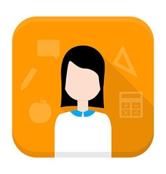 Woman app icon with long shadow vector image vector image