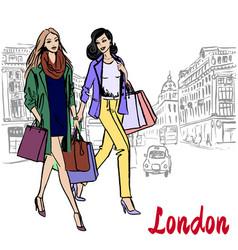 women walking in london vector image