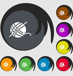 Yarn ball icon sign symbols on eight colored vector