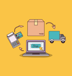 yellow background with laptop computer with steps vector image