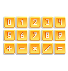 Yellow numeric button set vector image