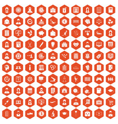 100 statistic data icons hexagon orange vector