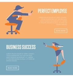 Perfect employee and business success banners vector