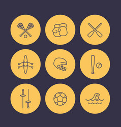 Sports and games line icons set rowing boxing vector