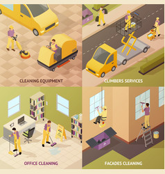 isometric industrial cleaning concept vector image