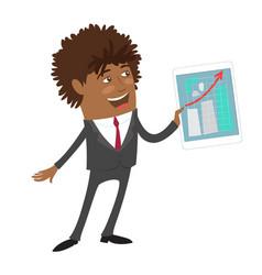 Funny confident black businessman hold computer vector