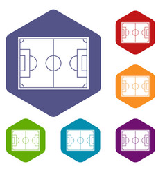 Soccer field icons set hexagon vector