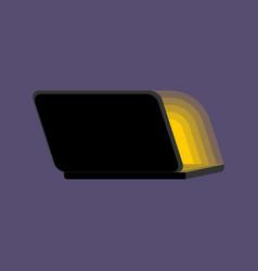 Open black laptop back at night screen light vector