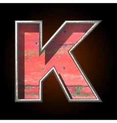 Old metal letter k vector