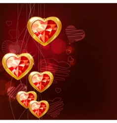 Ruby gold hearts vector