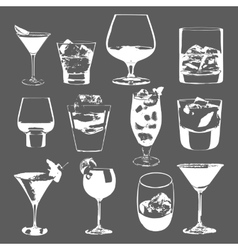Cocktails set glasses collection drinking whiskey vector