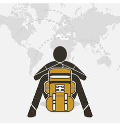 Backpacker sit relax on world map vector
