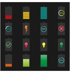 Icons batteries vector