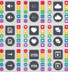 Mute pulse cloud media file heart chat arrow right vector