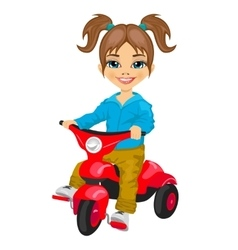 Cute little girl riding a tricycle vector
