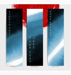 Abstract blue ink wash banners in asian style vector