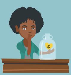 african broke woman looking at empty money box vector image vector image
