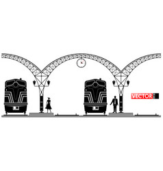 an ancient arched metal building of the railway vector image vector image