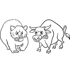 Bear and bull market cartoon vector
