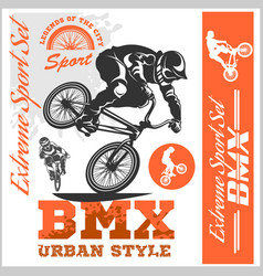 Bmx t-shirt graphics extreme bike street style - vector