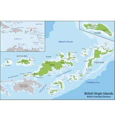 British virgin islands map vector