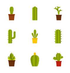 Cactus icon set flat style vector