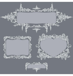 Calligraphy set frames grey vector