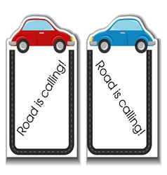 Cartoon cards with cars and road border vector